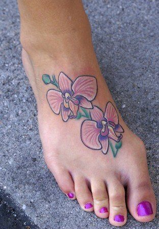 Inspirational orchid flower tattoo that always reminds the wearer ...
