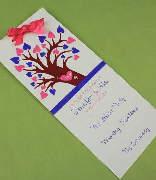 DIY Spring Tree With Hearts Layered Wedding Program Template Add Your Text And Print