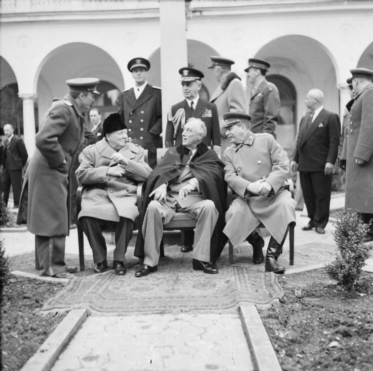 The 'Big Three' - Churchill, Roosevelt and Stalin - at the Yalta Conference. Churchill travelled all over the world building and sustaining the 'Grand Alliance'. This was an exhausting task. Between 1941 and 1945, he went on 19 gruelling and often dangerous journeys overseas. In December 1941, he suffered a mild heart attack at the White House and, two years later, a severe bout of pneumonia after the Tehran Conference.