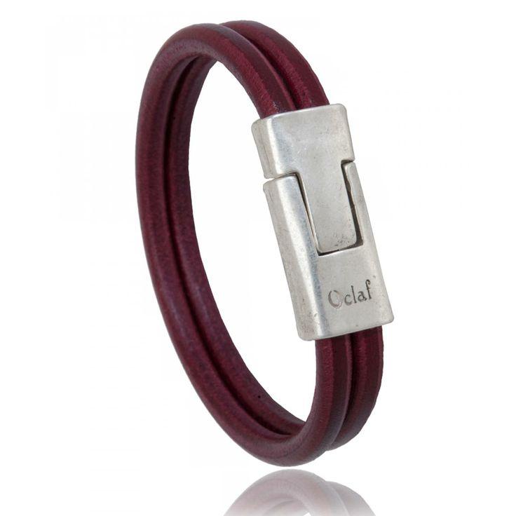 Bracelet homme cuir bordeau Imperial - Oclaf