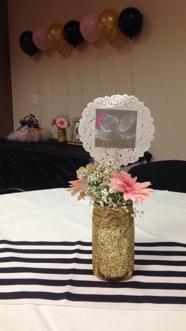 Baby shower centerpieces, ultra sound, baby girl, pink and gold