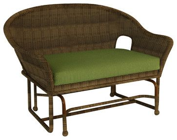 Rockport Traditional Patio Double Glider Chair, Canvas Parrot Cushions - traditional - Outdoor Gliders - PatioProductions