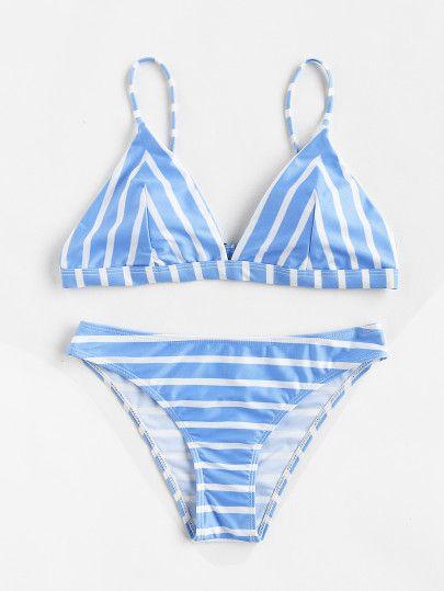 Block Striped Triangle Bikini Set
