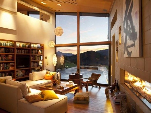 Architecture Design, [Inspirational Deluxe Wood Clad Architecture]: Cozy White Luxury Living Room