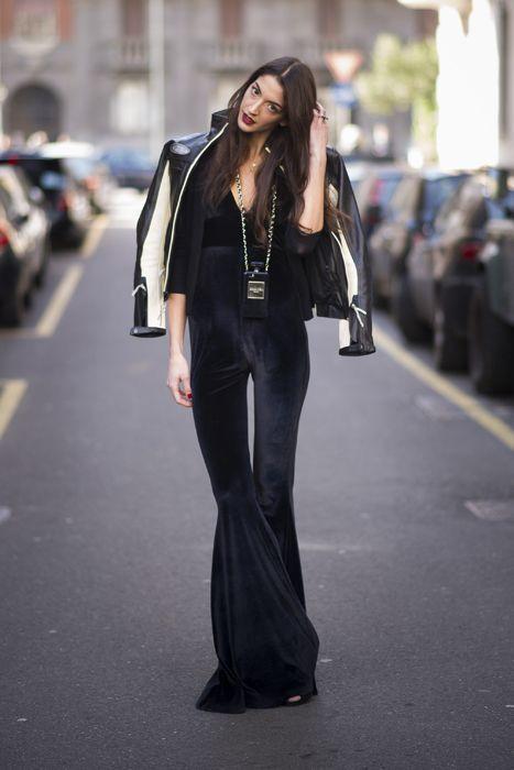 Premium black velvet flare pants