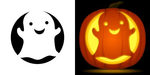 Cute ghost pumpkin carving stencil. Free PDF pattern to download and print at http://pumpkinstencils.org/download/cute-ghost-pumpkin-stencil/
