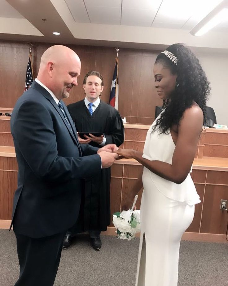 Beautiful interracial couple making their union official with a simply elegant courthouse wedding #wmbw #bwwm