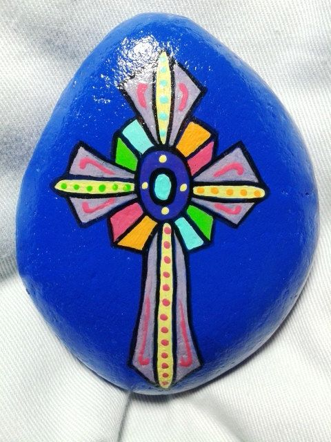 Painted rock/Easter/Christmas/Mother's day/Painted Cross Stone/ Religious Rock/Home Decor/Garden Decor/Paper Weight/Great Gift on Etsy