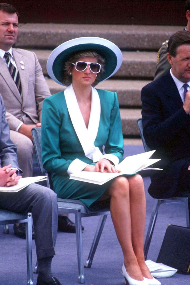 In a green suit, accessorized with a hat by Philip Somerville, during the Australian Bicentennial Celebration in Sydney on Jan. 26, 1988. In a green suit, accessorized with a hat by Philip Somerville, during the Australian Bicentennial Celebration in Sydney on Jan. 26, 1988.