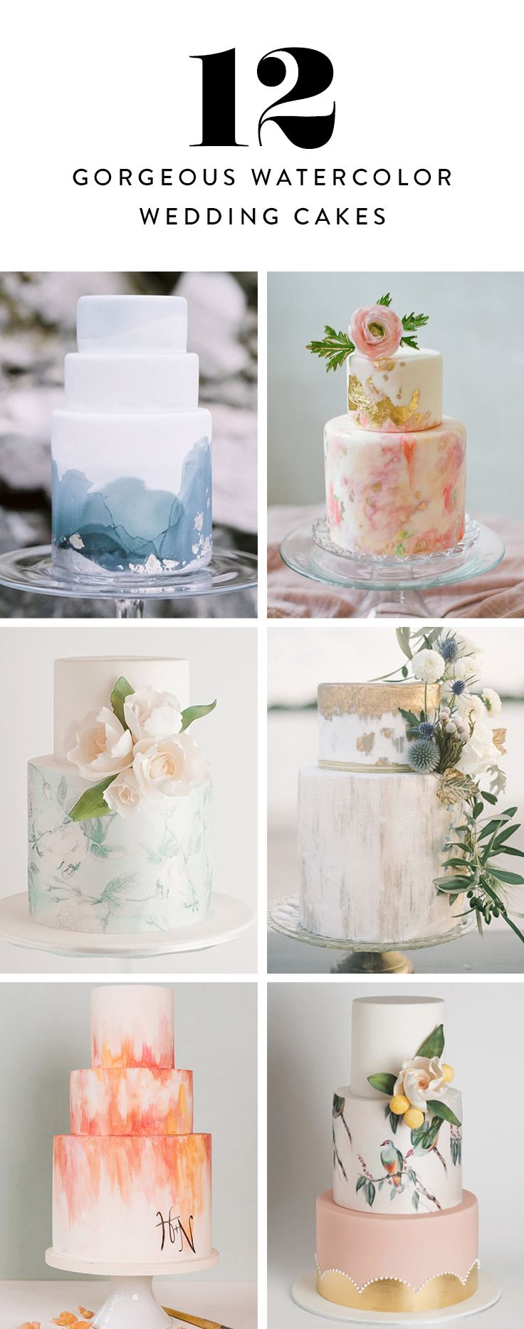 Introducing watercolor wedding cakes. These hand-painted masterpieces are seriously too gorgeous to eat. Here are 12 of the prettiest.