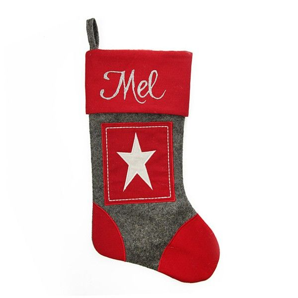 Personalised Stocking | Grey and Red Star Felt Stocking