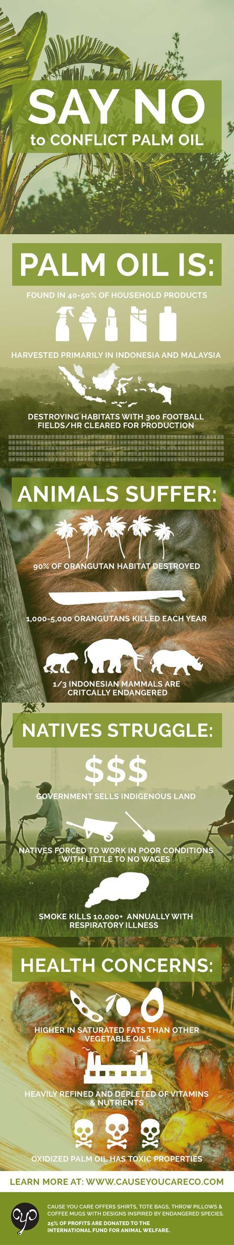 Did you know palm oil is responsible for severe habitat destruction, climate change, animal cruelty and indigenous rights abuses? Here's how to avoid it! www.causeyoucareco.com #palmoil