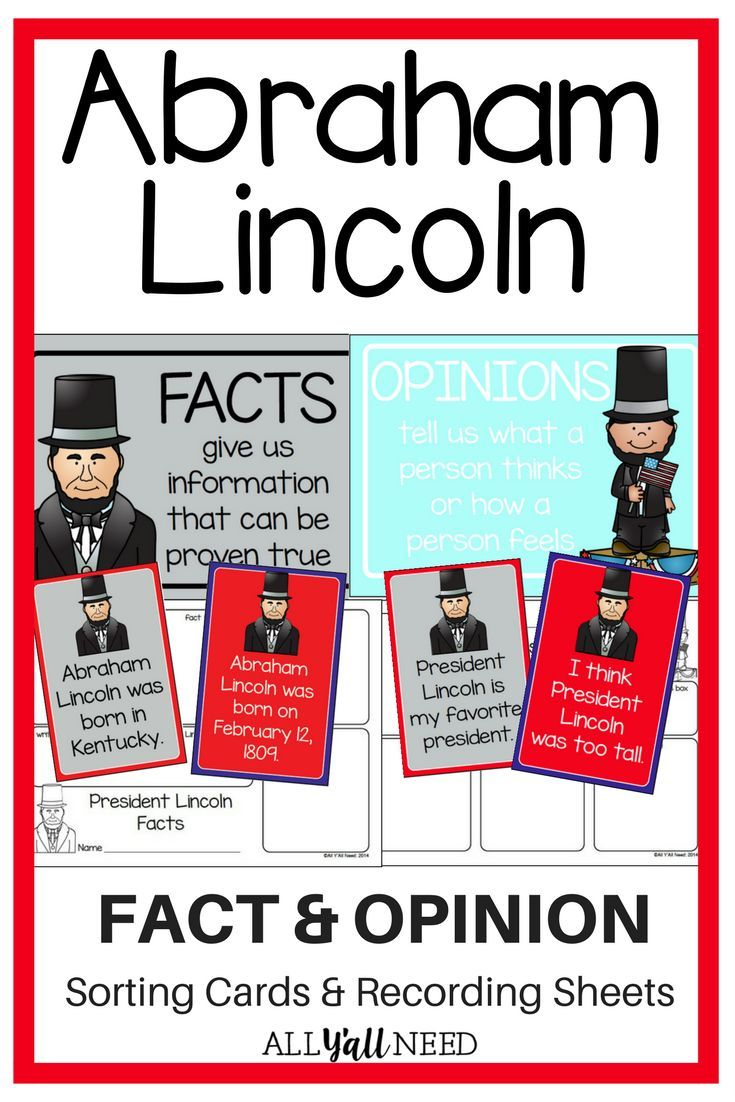 Abraham Lincoln Fact And Opinion With Images Abraham Lincoln