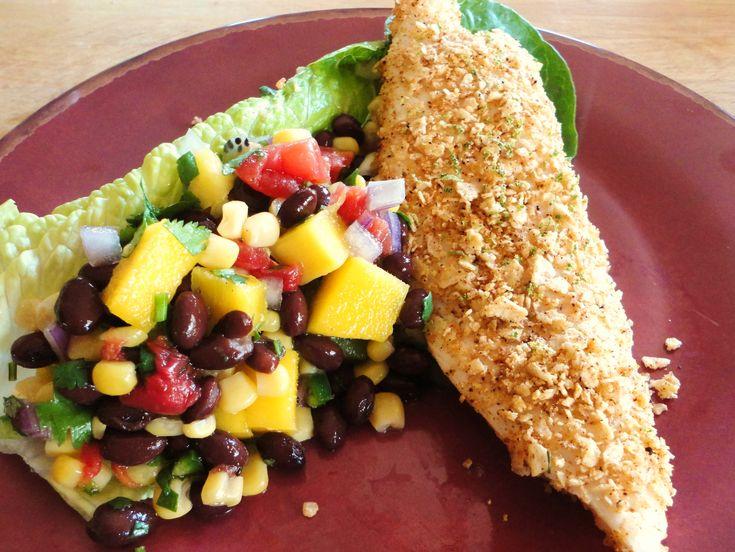 Tortilla Encrusted Tilapia w/Mango, Kiwi, & Black Bean Salad in a Lime Vinaigrette - can't wait to make this!