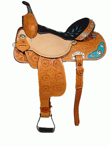 Double J Pro Barrel Racer Saddle with floral tooling.