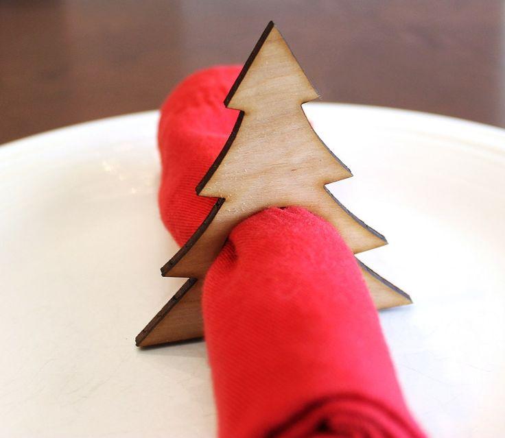 Christmas Tree Wood Napkin Rings, Pine Tree, Laser Cut Set of 4 Large | tiffzippy - Seasonal on ArtFire