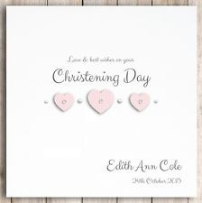 Personalised Christening Card Hearts Girl