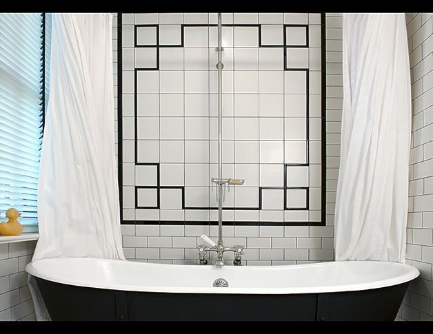 Art Deco Bathroom With Drop In Tub And Vintage White Subway Tile Surround  With Black Decorative Inset Tiles. Part 53
