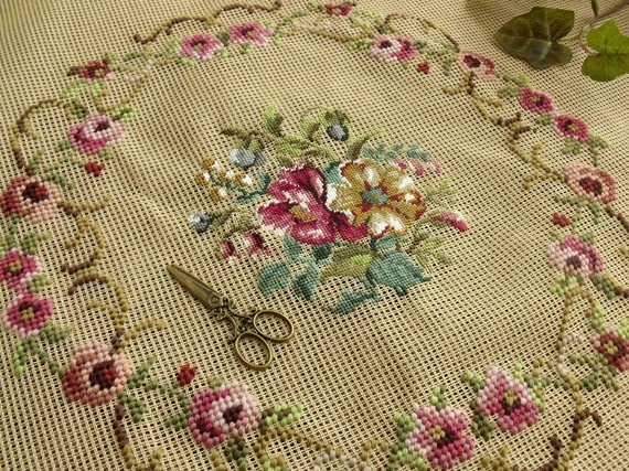 Ooh so pretty.  I found this on etsy while doing some Christmas shopping....I would like to use this on a vintage chair but its not shop for myself day...       http://www.etsy.com/listing/70959614/23x23-inch-needlepoint-canvas-spring     23x23 Inch Needlepoint CanvasSpring PINK by Magnoliawonderworld, $28.99