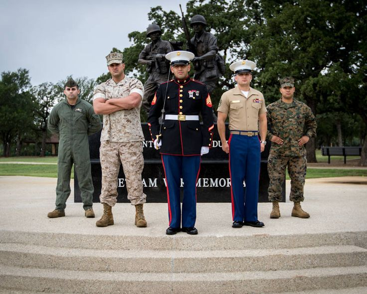 Marine Corps recruiters out of Recruiting Sub-Station Arlington, Texas wear different Marine Corps uniforms at Veterans Park ... representing the honorable, proud history of the Marine Corps.