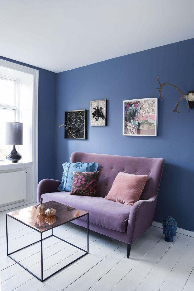 divano grigio e muro blu - Cerca con Google