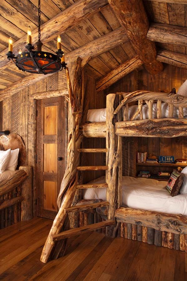 Rustic Cabin Bedroom for the Kids! Fun for the family summer vacation.