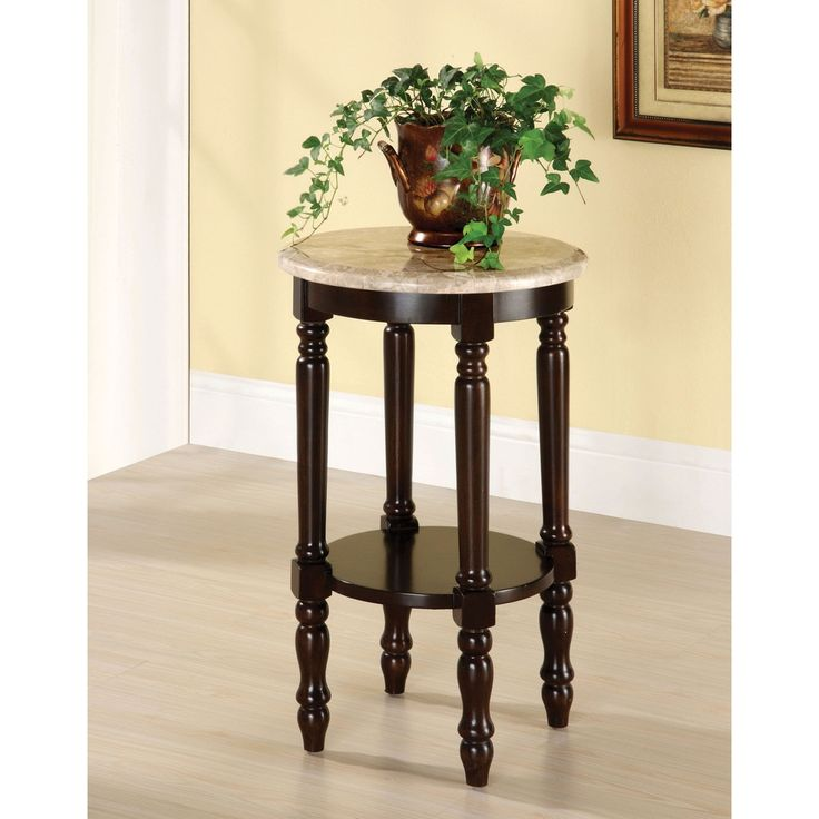 Furniture of America Arboreta Classic Marble Round Top Side Table