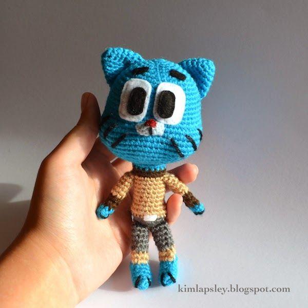 "Gumball (the wacky blue cat who stars in the cartoon ""The Amazing World of Gumball"") Free Amigurumi Pattern here: http://kimlapsley.blogspot.com.es/2014/03/gumball.html"
