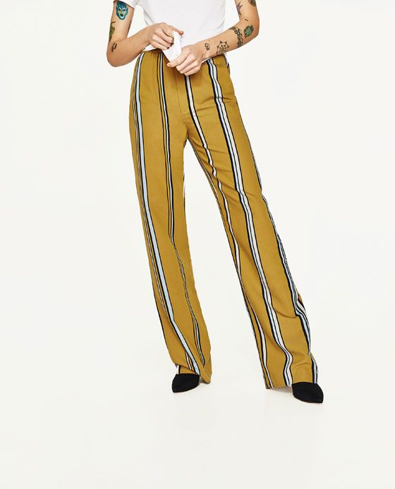 Image 2 of STRIPED PALAZZO TROUSERS from Zara