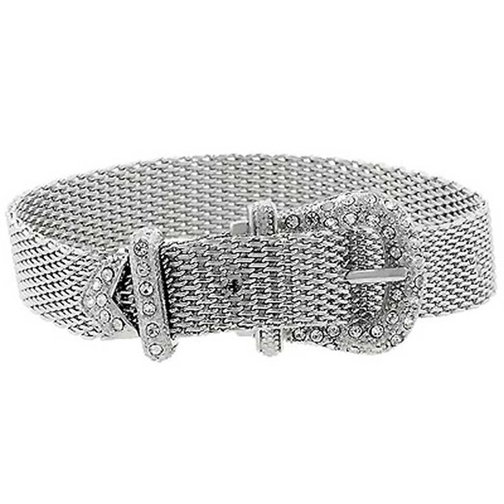 Bling Jewelry Adjustable Mesh Pave CZ Belt Buckle Bracelet 8in Rhodium Plated *** You can get additional details at the image link.