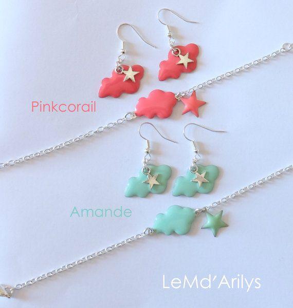 Parure BO et Bracelet Nuage - Pink corail ou  vert amande