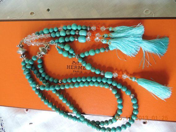 Handmade Juzu Turquoise beads Nichiren Buddhism by BeHappyJewelry