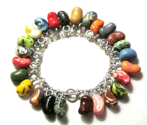 Bertie Bott's Every Flavor Bean Charm Bracelet - Harry Potter Jewelry - Jelly Beans - Honeydukes - Polymer Clay - Gifts under 30, 50, 100. $27.00, via Etsy.