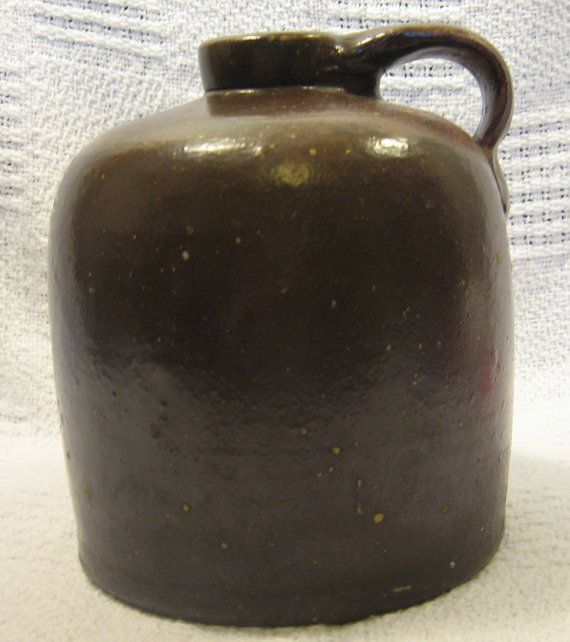 Brown Moonshine Jug no markings by DocsOddsandEnds on Etsy, $60.00