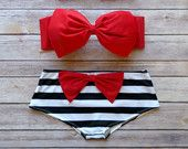 Bow Bandeau Bikini - Cheeky Boy Short Style Swimwear -  With Bow on Butt  - Red with Black and White Stripes - Unique & So Cute!