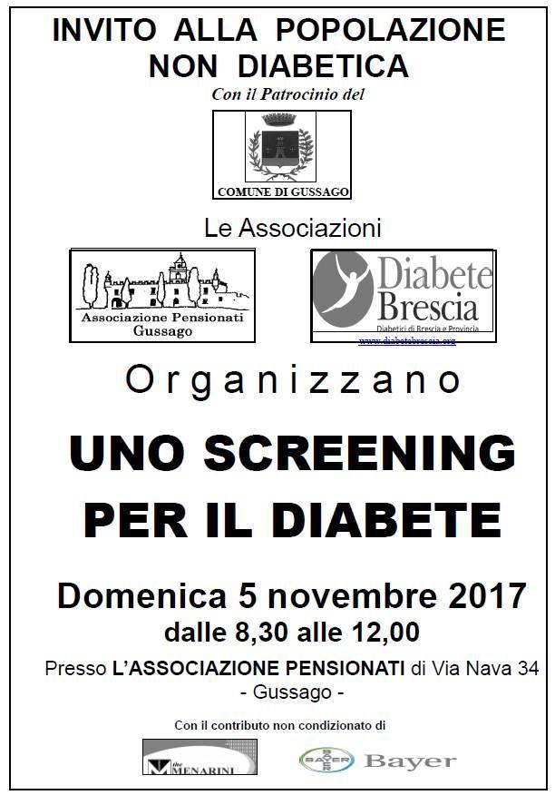 Domenica 5 novembre screening gratuito del diabete 2017 - http://www.gussagonews.it/screening-gratuito-diabete-novembre-2017/