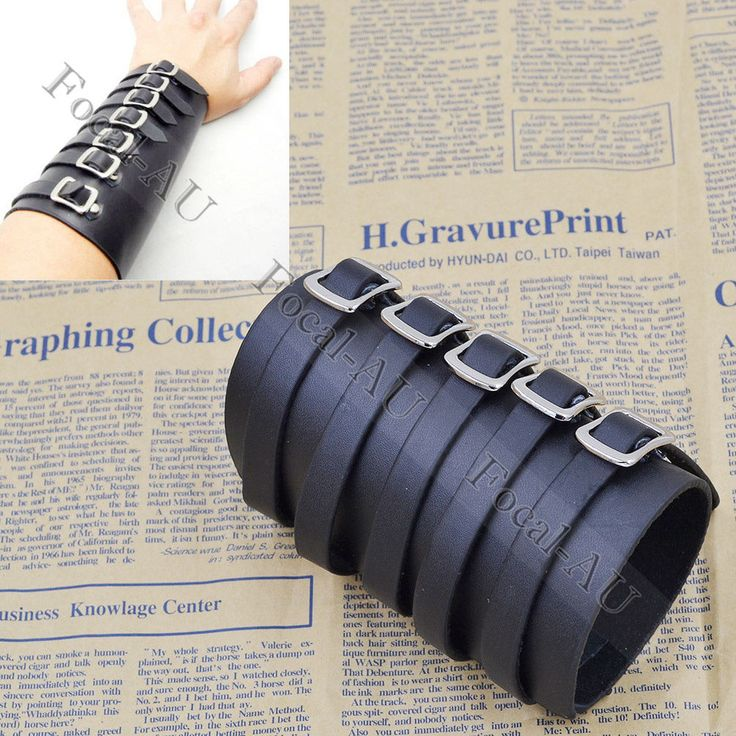 Punk-Men-Women-Wide-Leather-Belt-Bracelet-Cuff-Wristband-Bangle-Black-Coffee-New