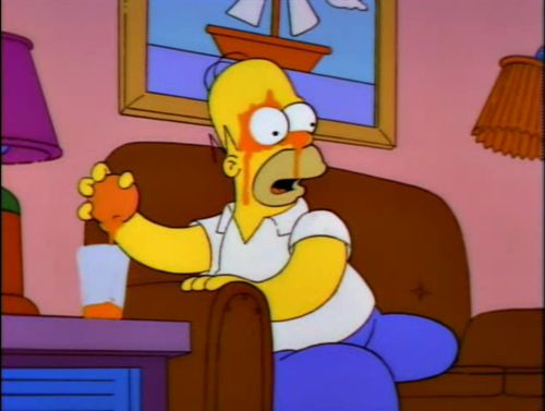 """""""You mean there's a better way?!"""": Aha Moments, Simpsons Moments, Funny Things, Funny Signs, The Simpsons, Funny Pictures, 8220 You, Orange Juice, Classic Simpsons"""