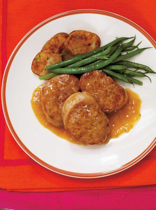 Médaillons de porc, sauce à la clémentine