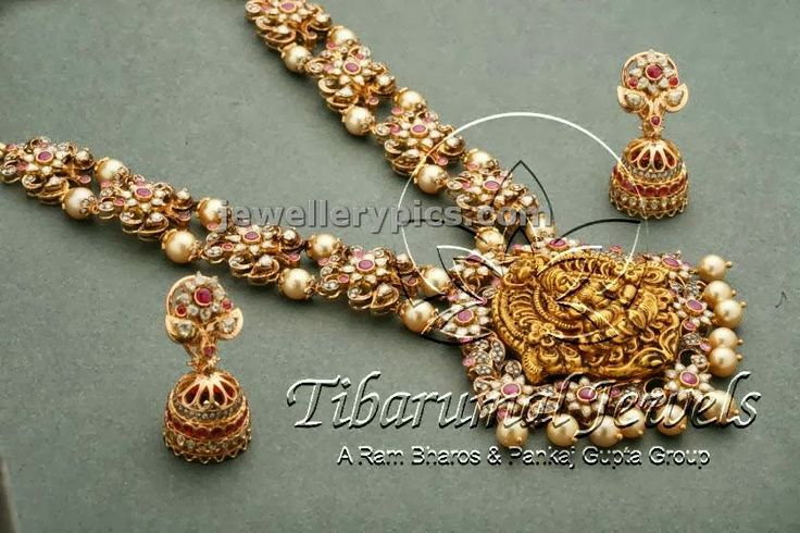 Ruby uncut long haram design - Latest Jewellery Designs