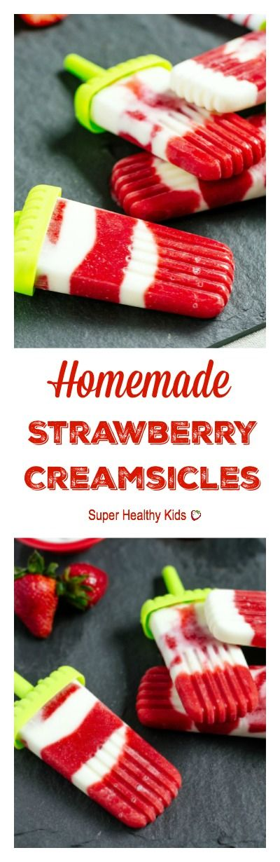Strawberry Creamsicles. All fruit, no added sugar. Perfect way to use up your strawberries that are on their way out! http://www.superhealthykids.com/homemade-strawberry-creamsicles/
