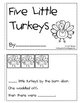 5 Little Turkeys Emergent Reader: FREE!