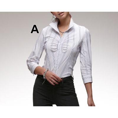 ウィングカラーシャツ(グラマーサイズ)(ストレッチ・イージーケア・UV・抗菌防臭加工)