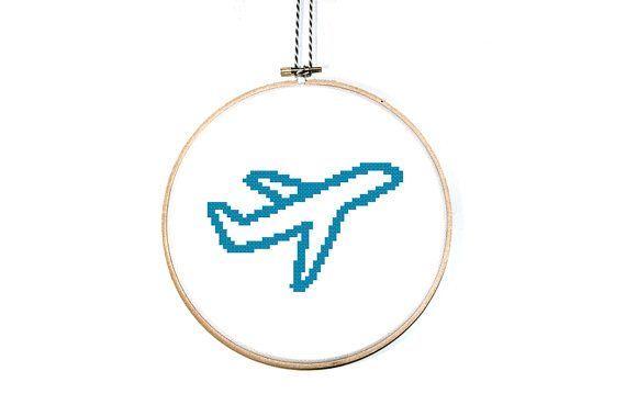Airplane Cross Stitch pattern Airplane by AlphabetCrossStitch. Nice to make a gift for a traveler!