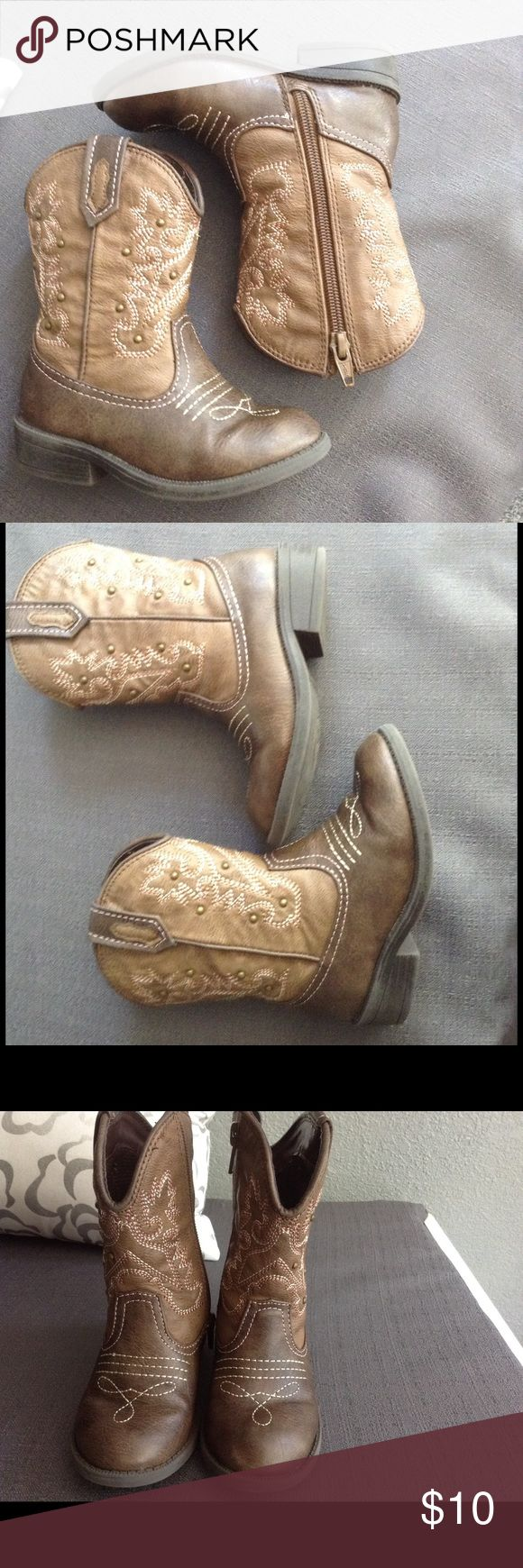 Cute toddler girl cowboy boots size 8 Gently used in very good condition..no visible flaws Cherokee Shoes Heeled Boots