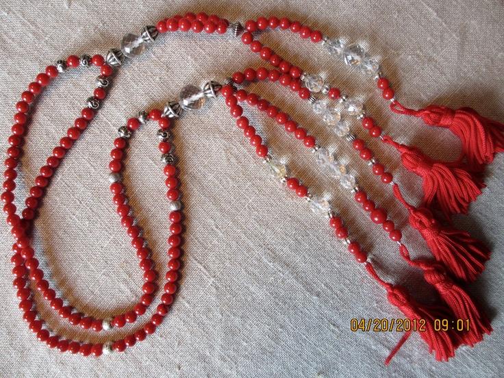 Coral juzu beads