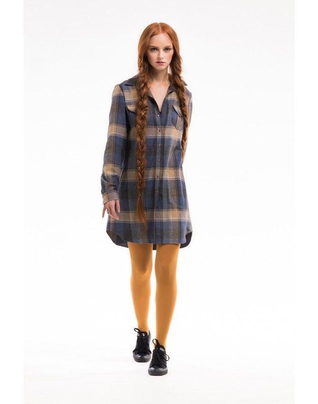 Платье-рубашка средней длины
