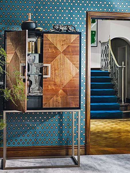 Puccini cocktail cabinet, Cole & Son Hickes Hexagon wallpaper, John Lewis