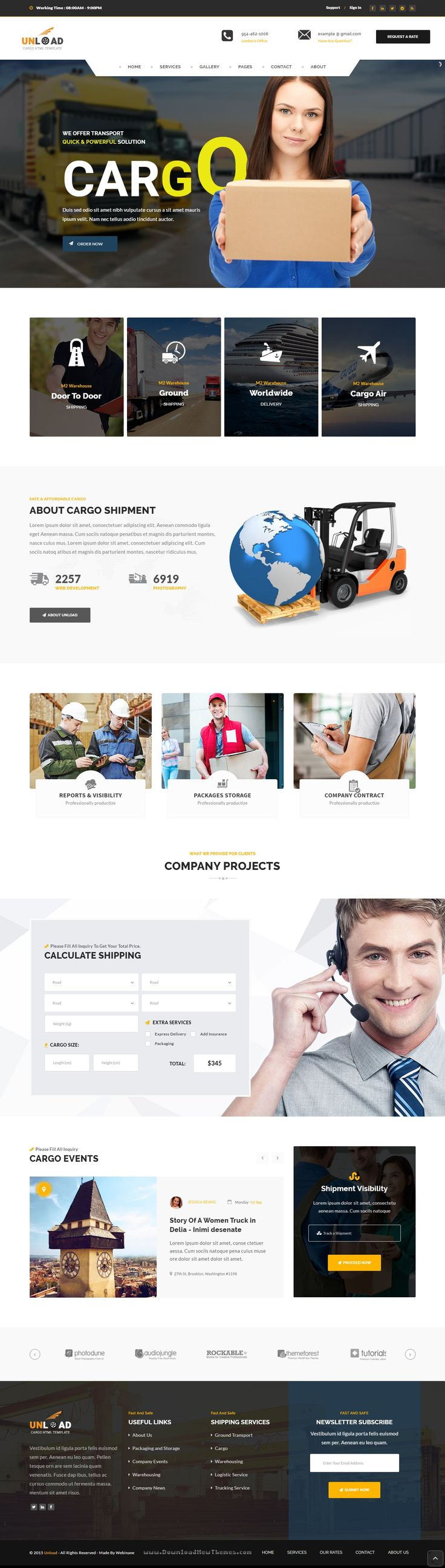 Unload - Cargo, Shipping, Warehouse & Transport HTML5 Responsive Website Template #webdesign #logistics #HTML