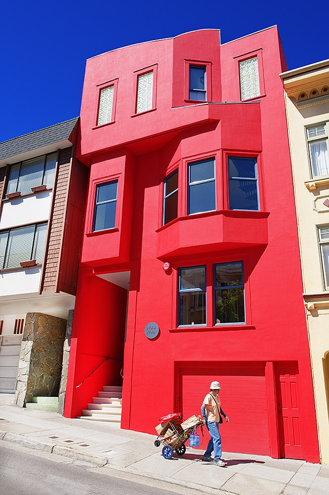Red Building Russian Hill  in San Francisco By Mitchell Funk  www.mitchellfunk.com